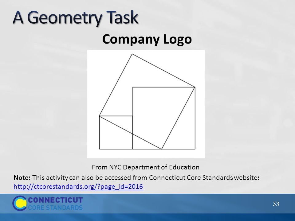 Company Logo 33 From NYC Department of Education Note: This activity can also be accessed from Connecticut Core Standards website: http://ctcorestandards.org/ page_id=2016 http://ctcorestandards.org/ page_id=2016