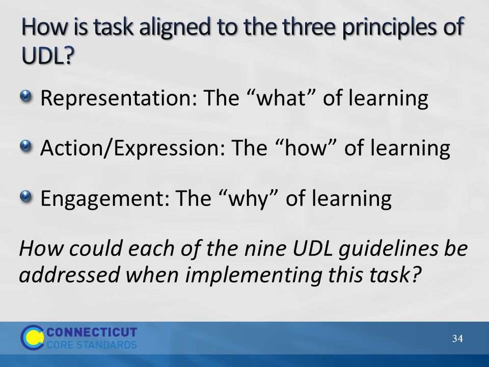 Representation: The what of learning Action/Expression: The how of learning Engagement: The why of learning How could each of the nine UDL guidelines be addressed when implementing this task.