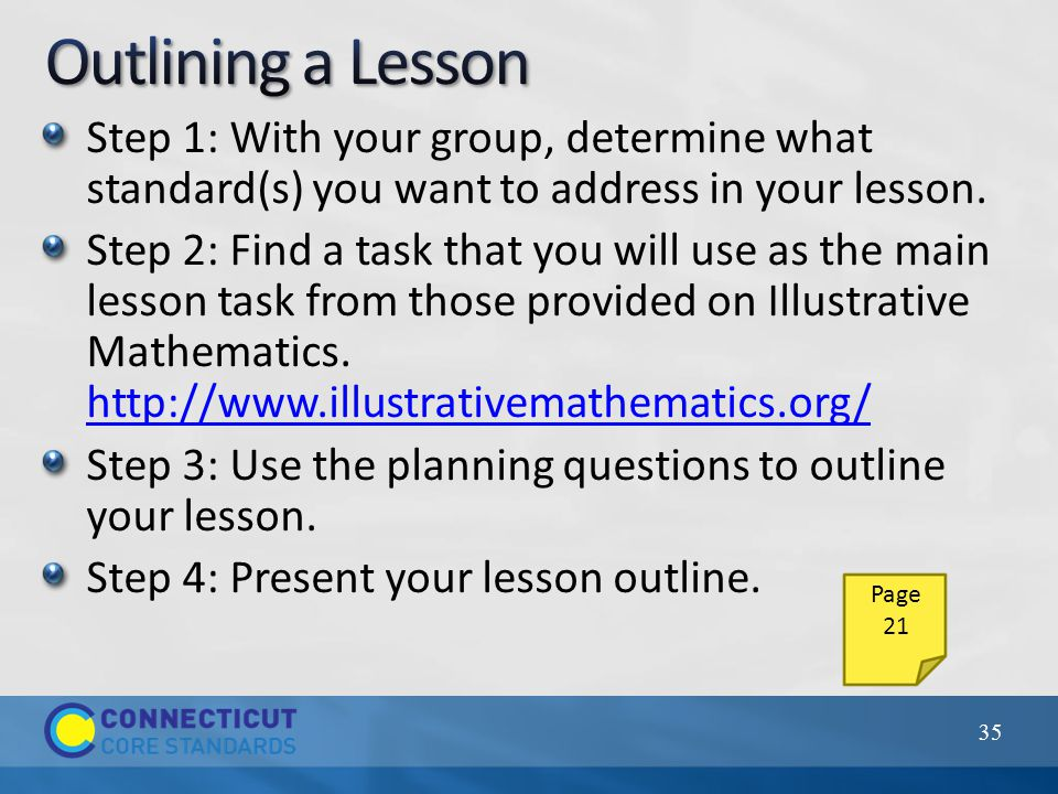 Step 1: With your group, determine what standard(s) you want to address in your lesson.