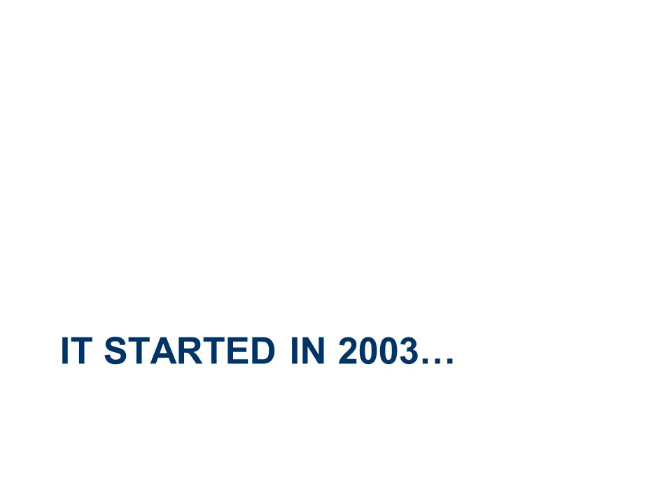 IT STARTED IN 2003…