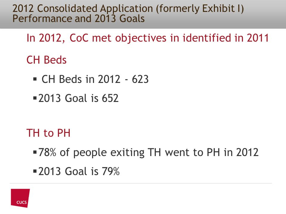 2012 Consolidated Application (formerly Exhibit I) Performance and 2013 Goals In 2012, CoC met objectives in identified in 2011 CH Beds  CH Beds in 2012 - 623  2013 Goal is 652 TH to PH  78% of people exiting TH went to PH in 2012  2013 Goal is 79%