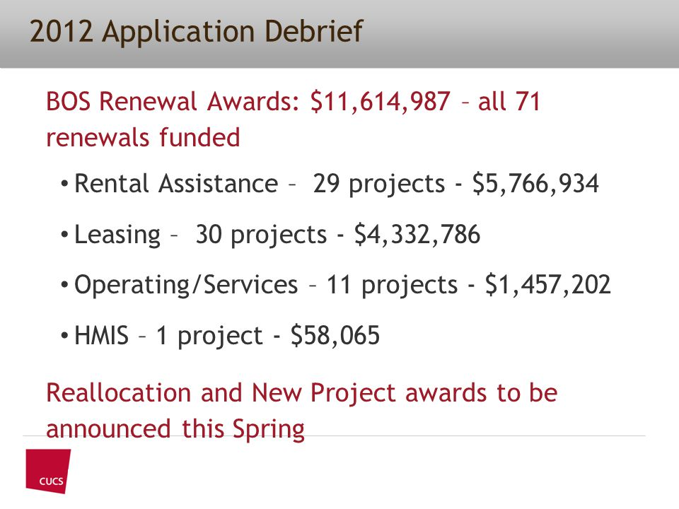 2012 Application Debrief BOS Renewal Awards: $11,614,987 – all 71 renewals funded Rental Assistance – 29 projects - $5,766,934 Leasing – 30 projects - $4,332,786 Operating/Services – 11 projects - $1,457,202 HMIS – 1 project - $58,065 Reallocation and New Project awards to be announced this Spring