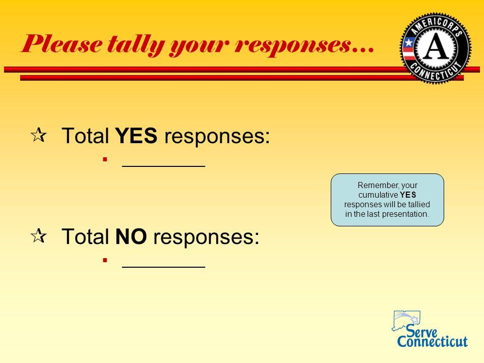 Please tally your responses…  Total YES responses:  ___________  Total NO responses:  ___________ Remember, your cumulative YES responses will be