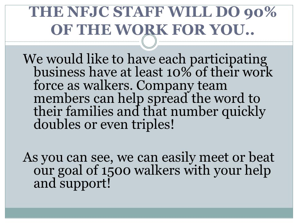 THE NFJC STAFF WILL DO 90% OF THE WORK FOR YOU..