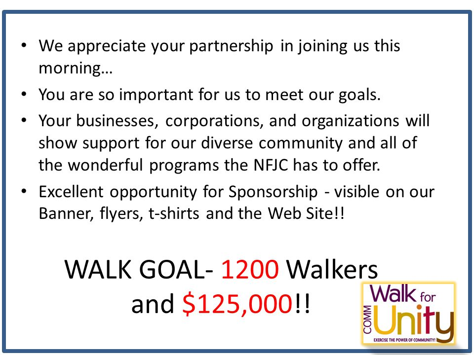 WALK GOAL- 1200 Walkers and $125,000!.
