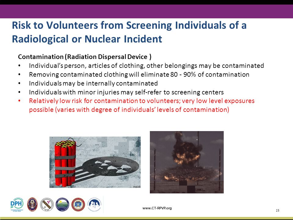www.CT-RPVP.org 25 Risk to Volunteers from Screening Individuals of a Radiological or Nuclear Incident Contamination (Radiation Dispersal Device ) Individual's person, articles of clothing, other belongings may be contaminated Removing contaminated clothing will eliminate 80 - 90% of contamination Individuals may be internally contaminated Individuals with minor injuries may self-refer to screening centers Relatively low risk for contamination to volunteers; very low level exposures possible (varies with degree of individuals' levels of contamination)