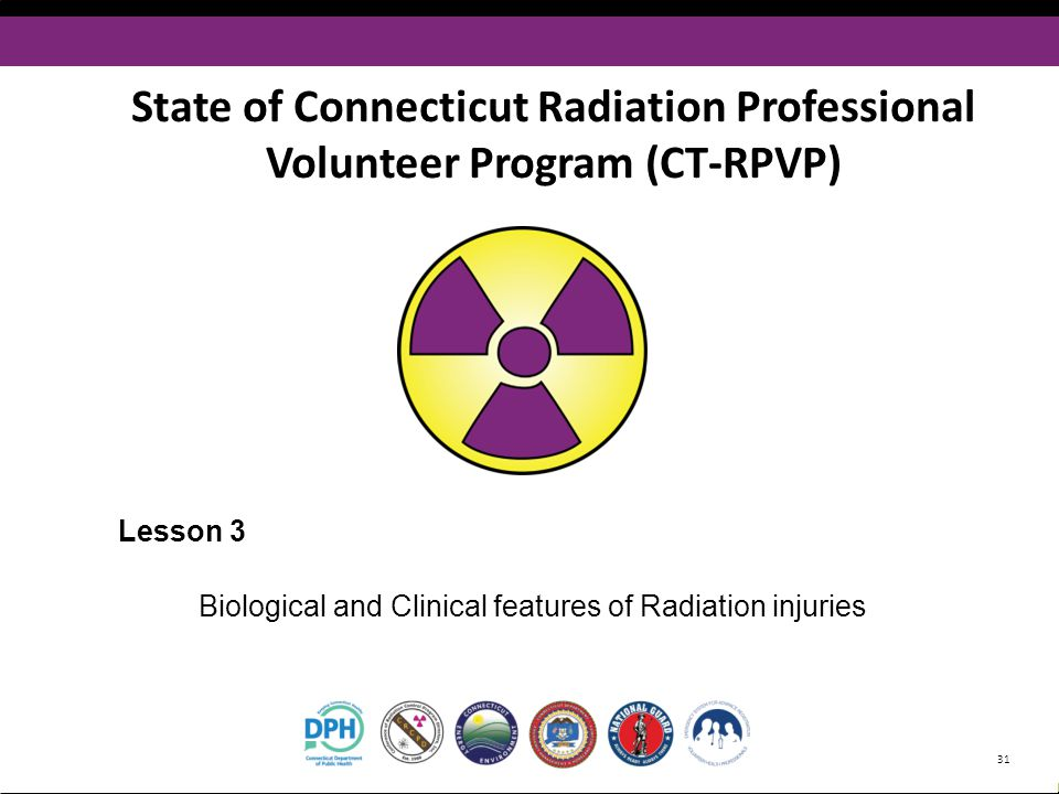 www.CT-RPVP.org State of Connecticut Radiation Professional Volunteer Program (CT-RPVP) Lesson 3 Biological and Clinical features of Radiation injurie