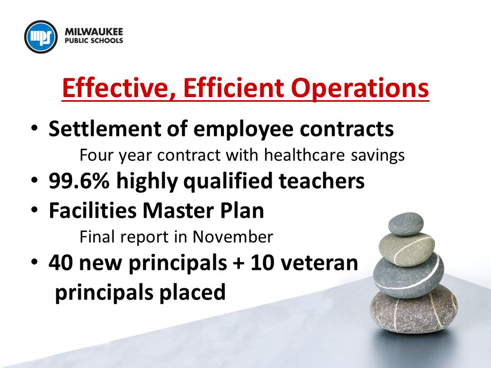 Effective, Efficient Operations Settlement of employee contracts Four year contract with healthcare savings 99.6% highly qualified teachers Facilities Master Plan Final report in November 40 new principals + 10 veteran principals placed