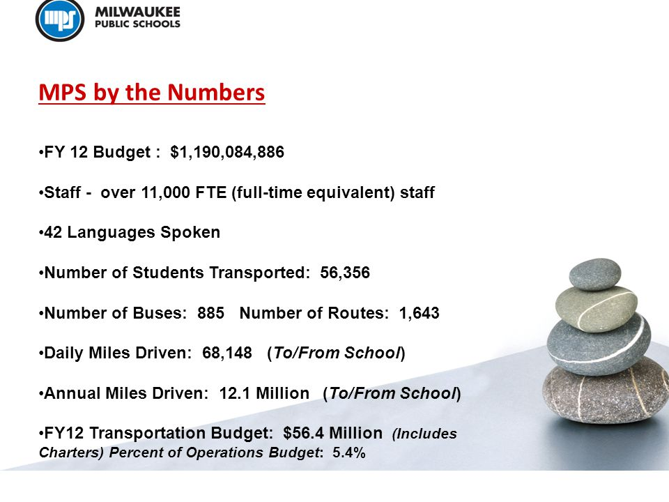 MPS by the Numbers FY 12 Budget : $1,190,084,886 Staff - over 11,000 FTE (full-time equivalent) staff 42 Languages Spoken Number of Students Transported: 56,356 Number of Buses: 885 Number of Routes: 1,643 Daily Miles Driven: 68,148 (To/From School) Annual Miles Driven: 12.1 Million (To/From School) FY12 Transportation Budget: $56.4 Million (Includes Charters) Percent of Operations Budget: 5.4%