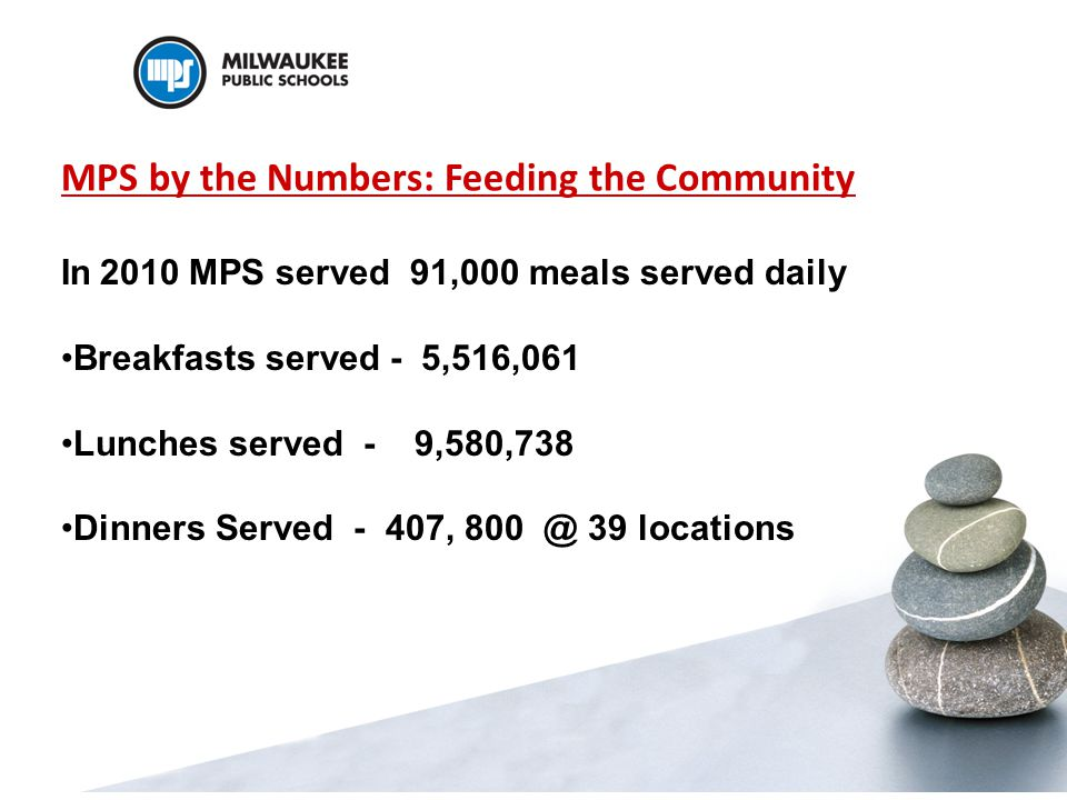 MPS by the Numbers: Feeding the Community In 2010 MPS served 91,000 meals served daily Breakfasts served - 5,516,061 Lunches served - 9,580,738 Dinners Served - 407, 800 @ 39 locations