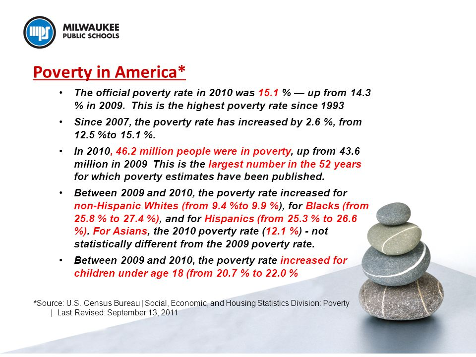 Poverty in America* The official poverty rate in 2010 was 15.1 % — up from 14.3 % in 2009.