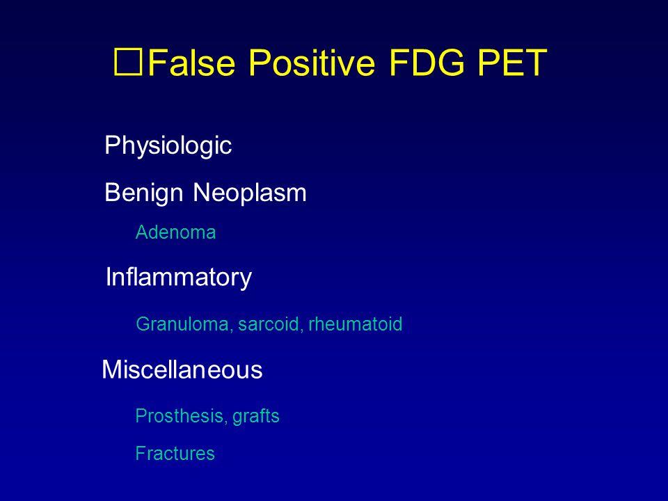 False Positive FDG PET Physiologic Benign Neoplasm Inflammatory Miscellaneous Adenoma Granuloma, sarcoid, rheumatoid Prosthesis, grafts Fractures