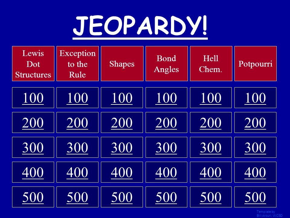 Template by Bill Arcuri, WCSD Click Once to Begin JEOPARDY! Chemistry Final Review Shapes, Bond Angles, and Lewis Dot Structures. By Kevin Krantz And