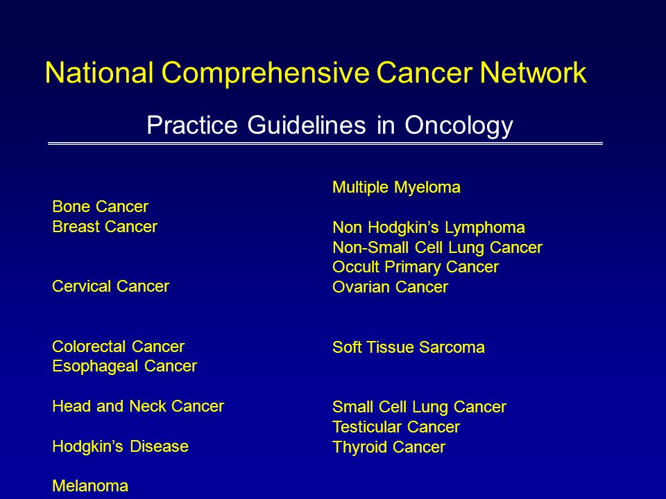 Bone Cancer Breast Cancer Cervical Cancer Colorectal Cancer Esophageal Cancer Head and Neck Cancer Hodgkin's Disease Melanoma Practice Guidelines in O