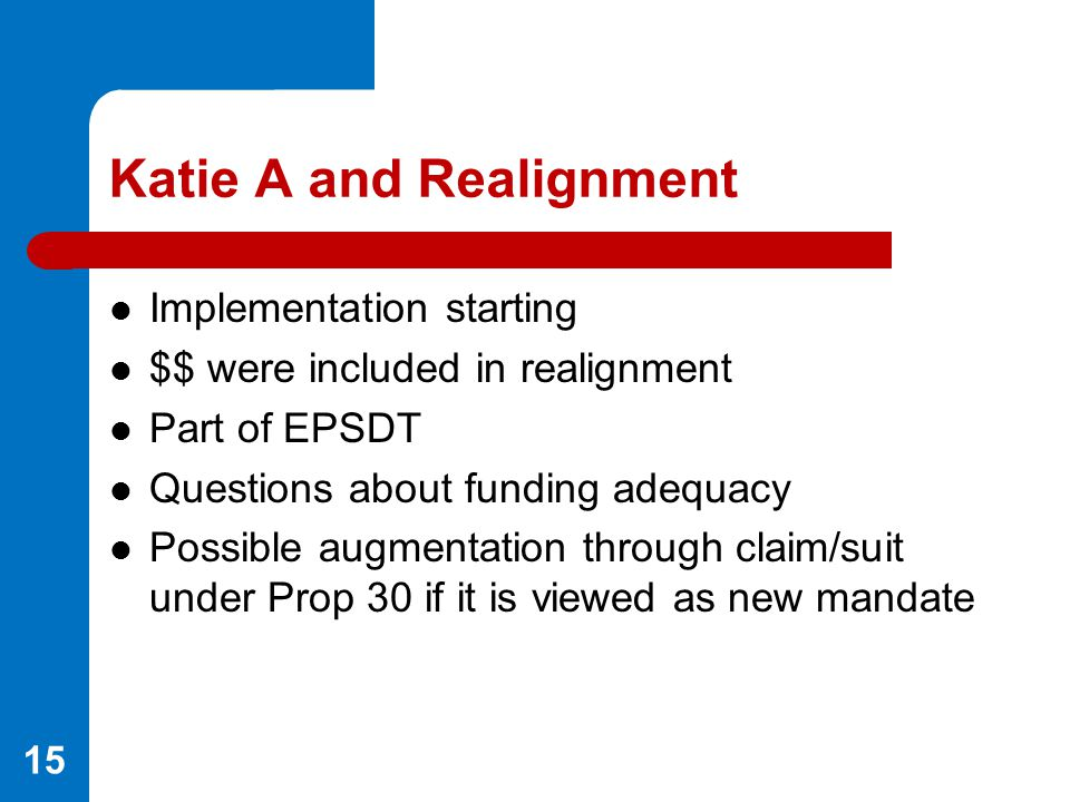 Katie A and Realignment Implementation starting $$ were included in realignment Part of EPSDT Questions about funding adequacy Possible augmentation t