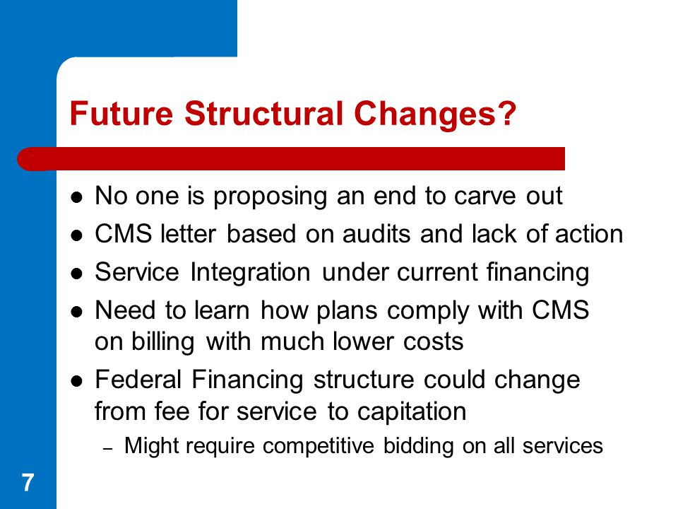 Future Structural Changes? No one is proposing an end to carve out CMS letter based on audits and lack of action Service Integration under current fin
