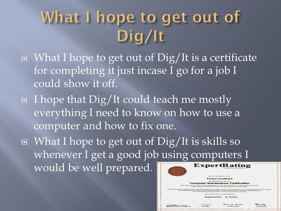  What I hope to get out of Dig/It is a certificate for completing it just incase I go for a job I could show it off.