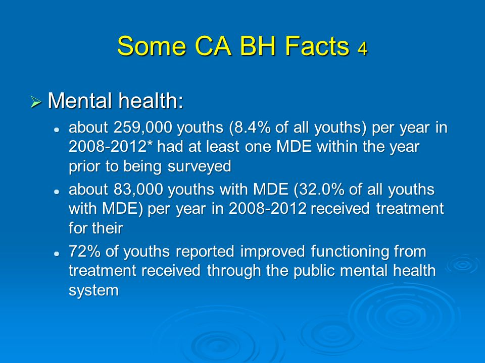 Some CA BH Facts 4  Mental health: about 259,000 youths (8.4% of all youths) per year in 2008-2012* had at least one MDE within the year prior to being surveyed about 259,000 youths (8.4% of all youths) per year in 2008-2012* had at least one MDE within the year prior to being surveyed about 83,000 youths with MDE (32.0% of all youths with MDE) per year in 2008-2012 received treatment for their about 83,000 youths with MDE (32.0% of all youths with MDE) per year in 2008-2012 received treatment for their 72% of youths reported improved functioning from treatment received through the public mental health system 72% of youths reported improved functioning from treatment received through the public mental health system
