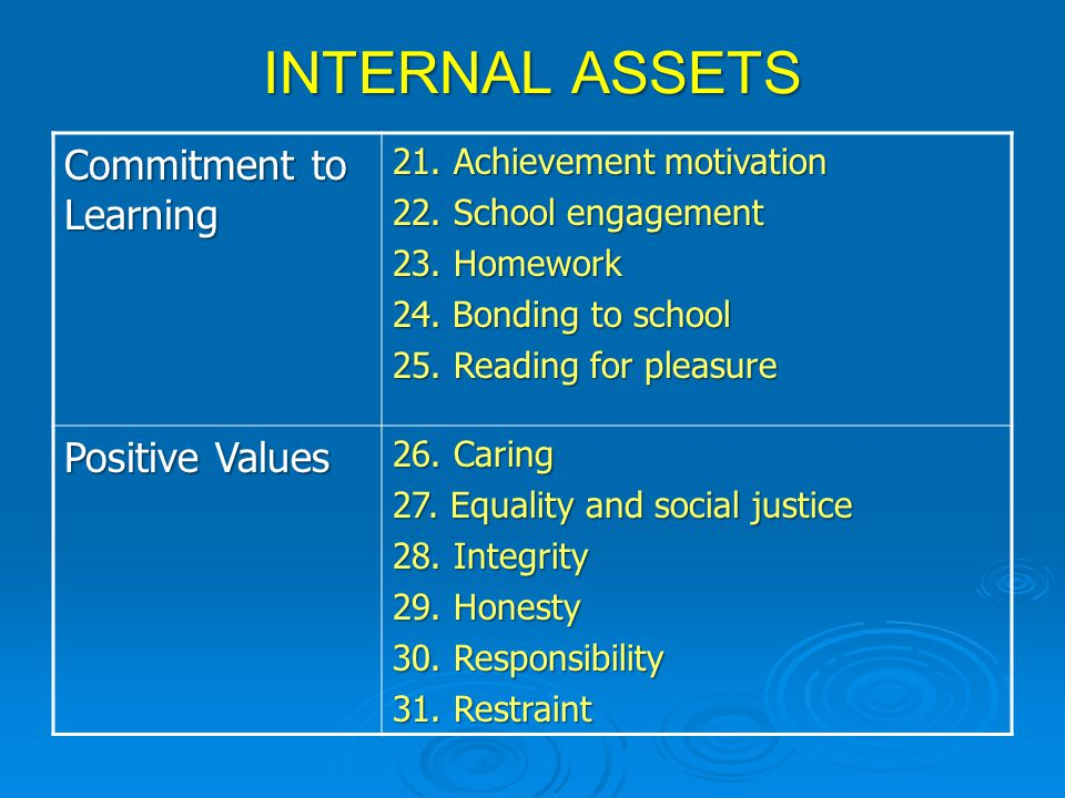 INTERNAL ASSETS Commitment to Learning 21.Achievement motivation 22.