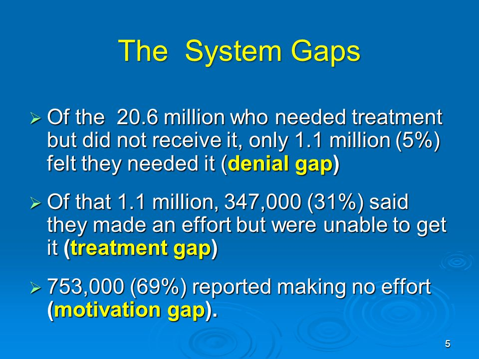 The System Gaps  Of the 20.6 million who needed treatment but did not receive it, only 1.1 million (5%) felt they needed it (denial gap)  Of that 1.1 million, 347,000 (31%) said they made an effort but were unable to get it (treatment gap)  753,000 (69%) reported making no effort (motivation gap).