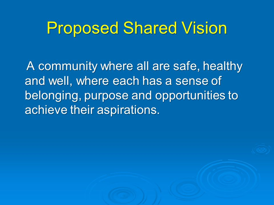Proposed Shared Vision A community where all are safe, healthy and well, where each has a sense of belonging, purpose and opportunities to achieve their aspirations.