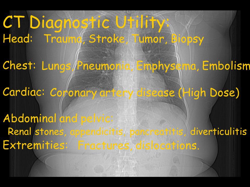 CT Diagnostic Utility: Head: Chest: Cardiac: Abdominal and pelvic: Extremities: Trauma, Stroke, Tumor, Biopsy Lungs, Pneumonia, Emphysema, Embolism Co