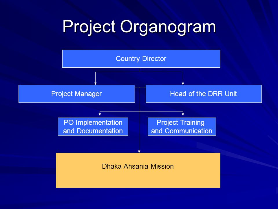 Project Organogram Country Director Project Training and Communication Head of the DRR Unit PO Implementation and Documentation Project Manager Dhaka