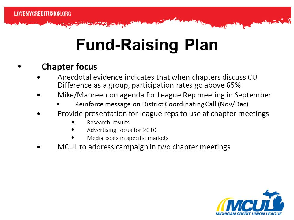 Fund-Raising Plan Chapter focus Anecdotal evidence indicates that when chapters discuss CU Difference as a group, participation rates go above 65% Mike/Maureen on agenda for League Rep meeting in September  Reinforce message on District Coordinating Call (Nov/Dec) Provide presentation for league reps to use at chapter meetings Research results Advertising focus for 2010 Media costs in specific markets MCUL to address campaign in two chapter meetings