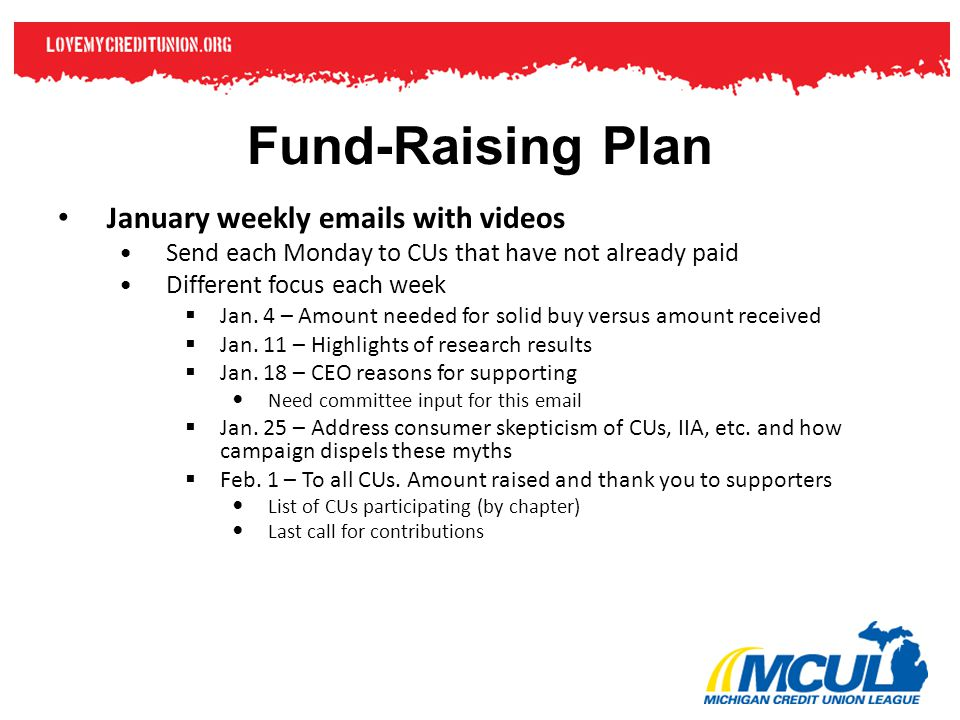 Fund-Raising Plan January weekly emails with videos Send each Monday to CUs that have not already paid Different focus each week  Jan. 4 – Amount nee