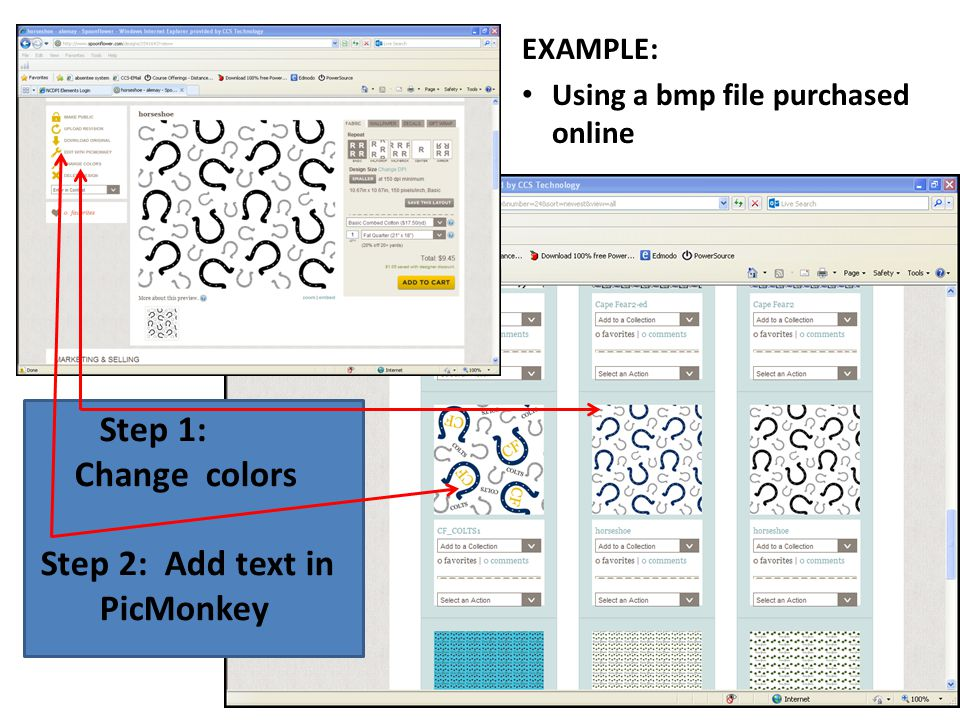 EXAMPLE: Using a bmp file purchased online Step 1: Change colors Step 2: Add text in PicMonkey