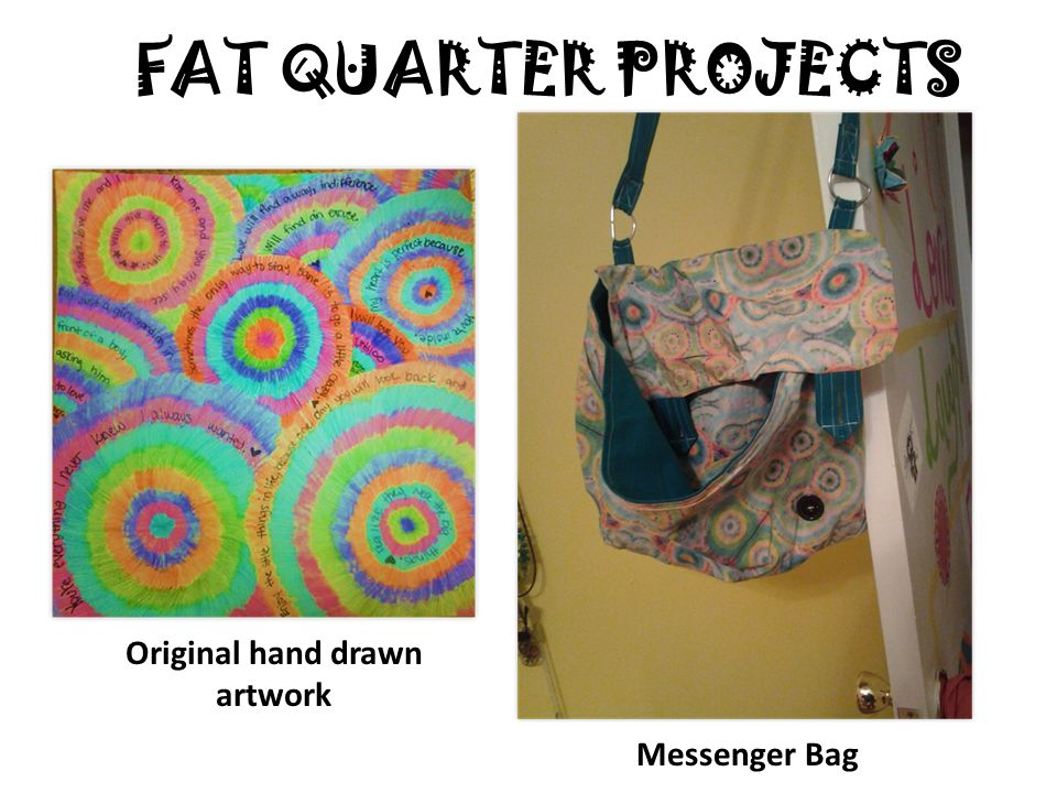 FAT QUARTER PROJECTS Original hand drawn artwork Messenger Bag