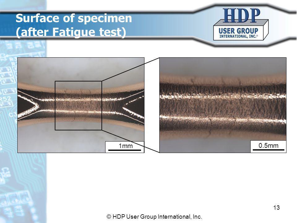 1mm 0.5mm Surface of specimen (after Fatigue test) 13 © HDP User Group International, Inc.