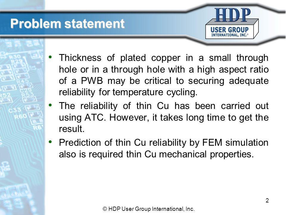 Objectives To characterize material property of plated thin Cu To study the relationship between material properties and thickness for plated Cu by mechanical stress testing and FEM simulations 3 © HDP User Group International, Inc.