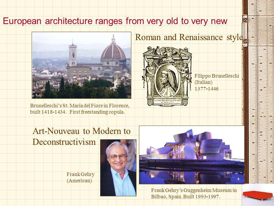 European architecture ranges from very old to very new Brunelleschi's St.