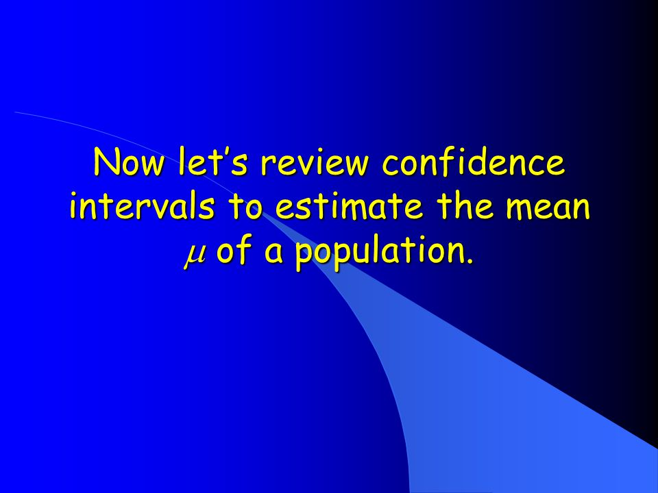 Now let's review confidence intervals to estimate the mean  of a population.