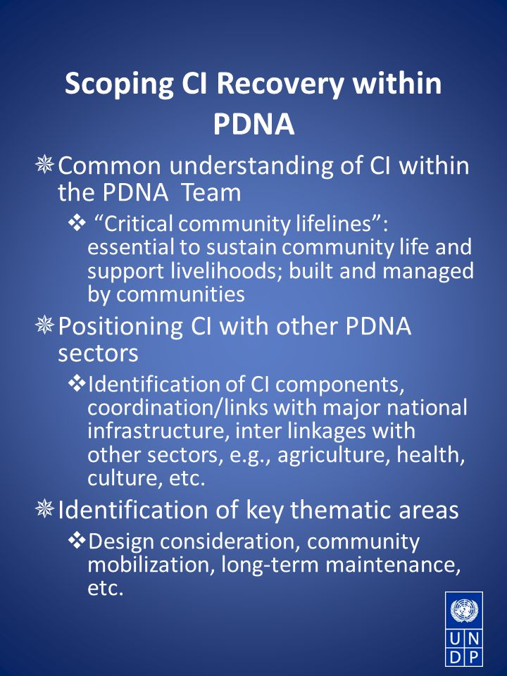 Scoping CI Recovery within PDNA  Common understanding of CI within the PDNA Team  Critical community lifelines : essential to sustain community life and support livelihoods; built and managed by communities  Positioning CI with other PDNA sectors  Identification of CI components, coordination/links with major national infrastructure, inter linkages with other sectors, e.g., agriculture, health, culture, etc.