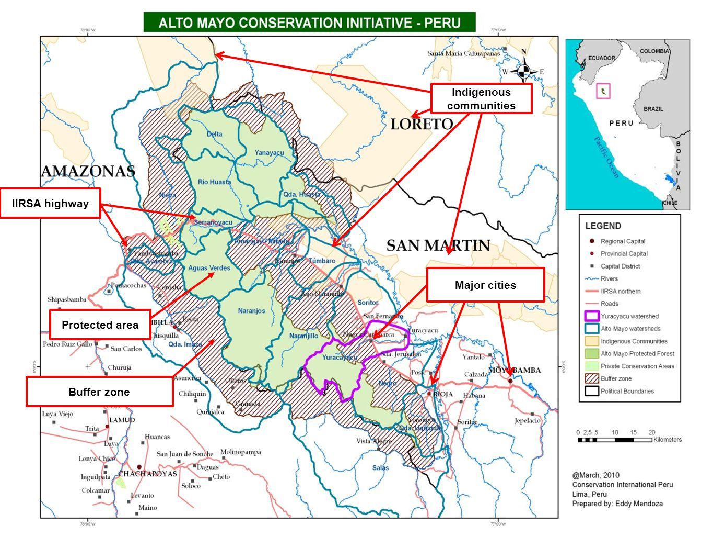IIRSA highway Major cities Buffer zoneProtected area Indigenous communities