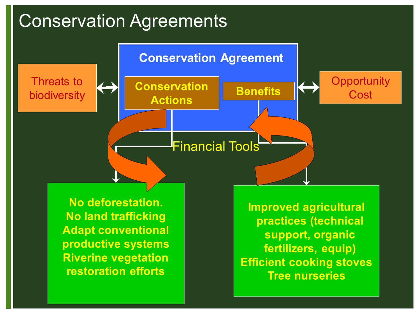 Conservation Agreement Conservation Actions Benefits Threats to biodiversity Opportunity Cost No deforestation.