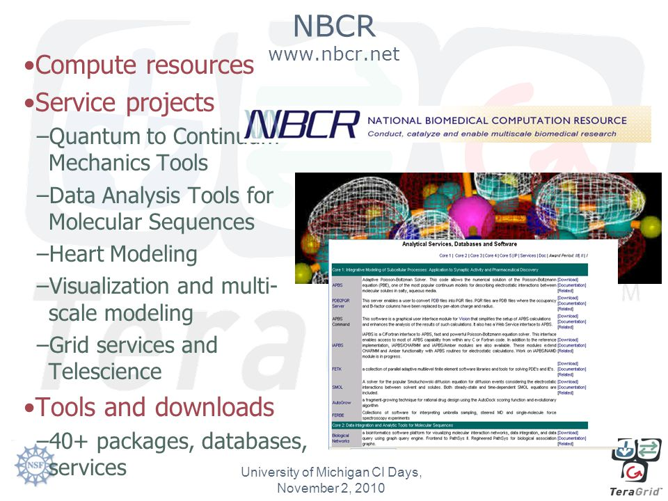 NBCR www.nbcr.net Compute resources Service projects –Quantum to Continuum Mechanics Tools –Data Analysis Tools for Molecular Sequences –Heart Modeling –Visualization and multi- scale modeling –Grid services and Telescience Tools and downloads –40+ packages, databases, services University of Michigan CI Days, November 2, 2010
