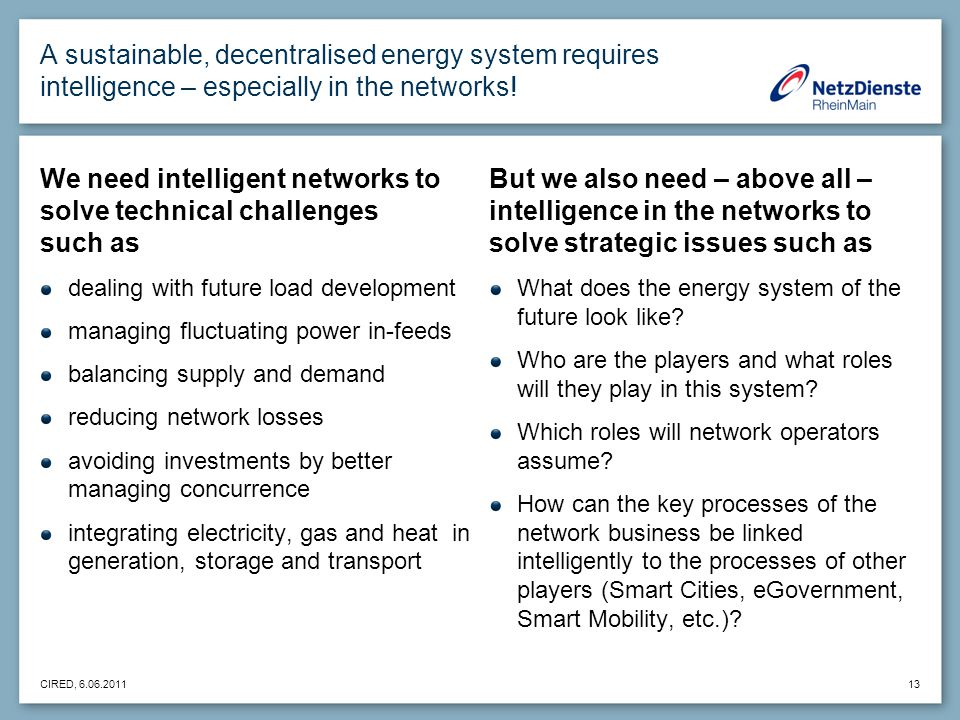 CIRED, 6.06.2011 13 A sustainable, decentralised energy system requires intelligence – especially in the networks.