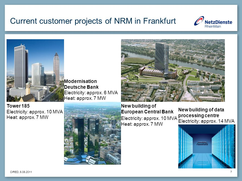 CIRED, 6.06.2011 7 Current customer projects of NRM in Frankfurt Modernisation Deutsche Bank Electricity: approx.