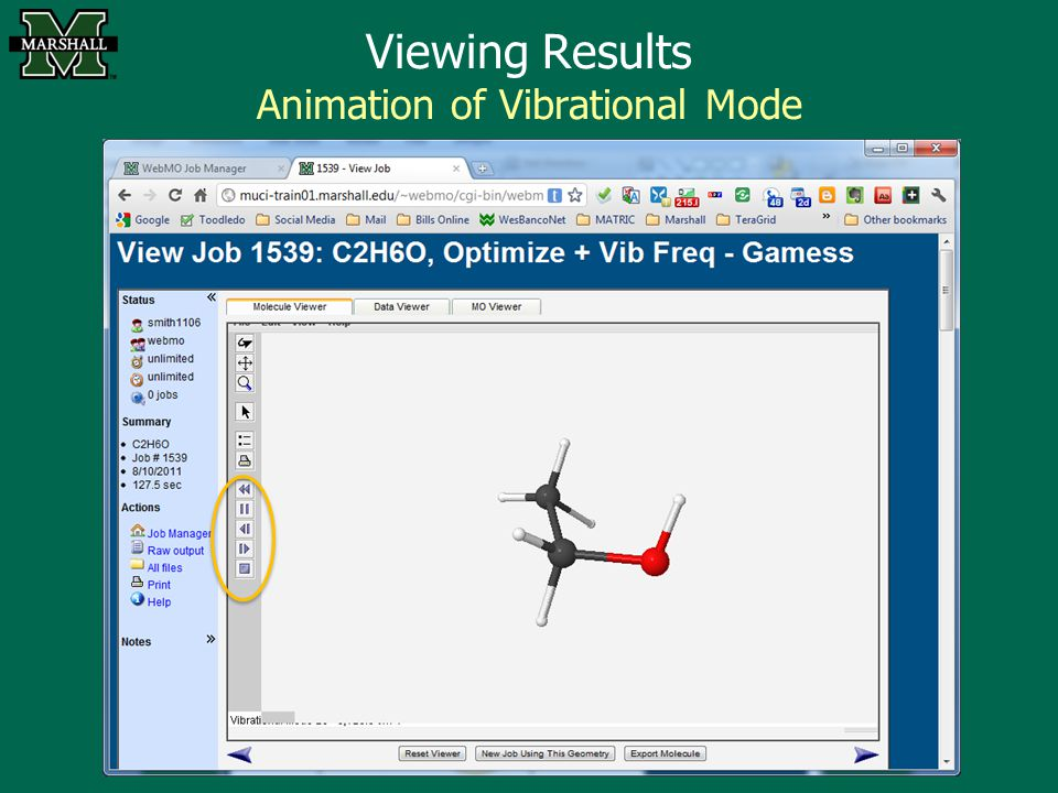 Viewing Results Animation of Vibrational Mode