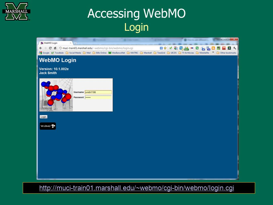 Accessing WebMO Login http://muci-train01.marshall.edu/~webmo/cgi-bin/webmo/login.cgi