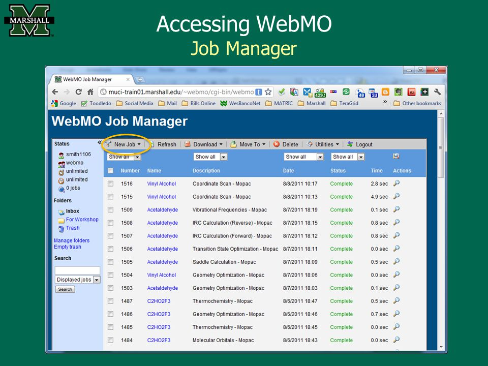 Accessing WebMO Job Manager