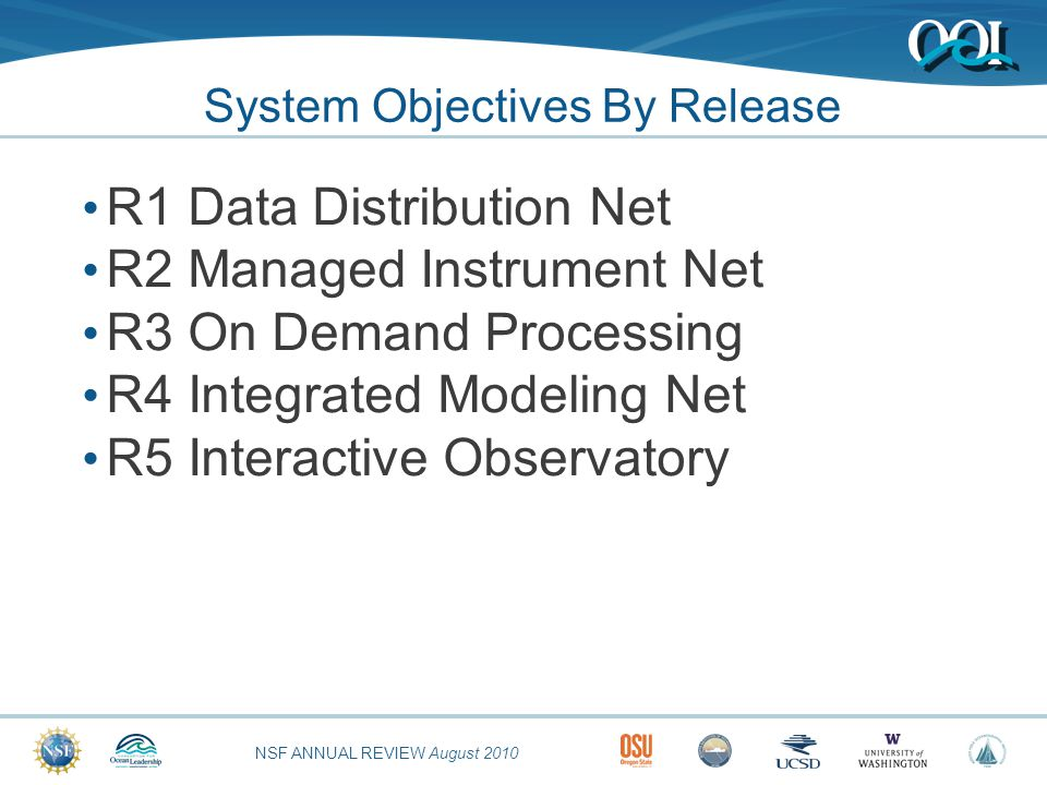 NSF ANNUAL REVIEW August 2010 Release 1 Objectives National near-real time data distribution service Network  Foundational functionality (COI, CEI, DM, & S&A) Foundational Use Cases  Data Life Cycle: Ingest and Transfer  Sensor Control and Data Acquisition Use Case Highly restricted and focused set of 5 Users  List the five users.