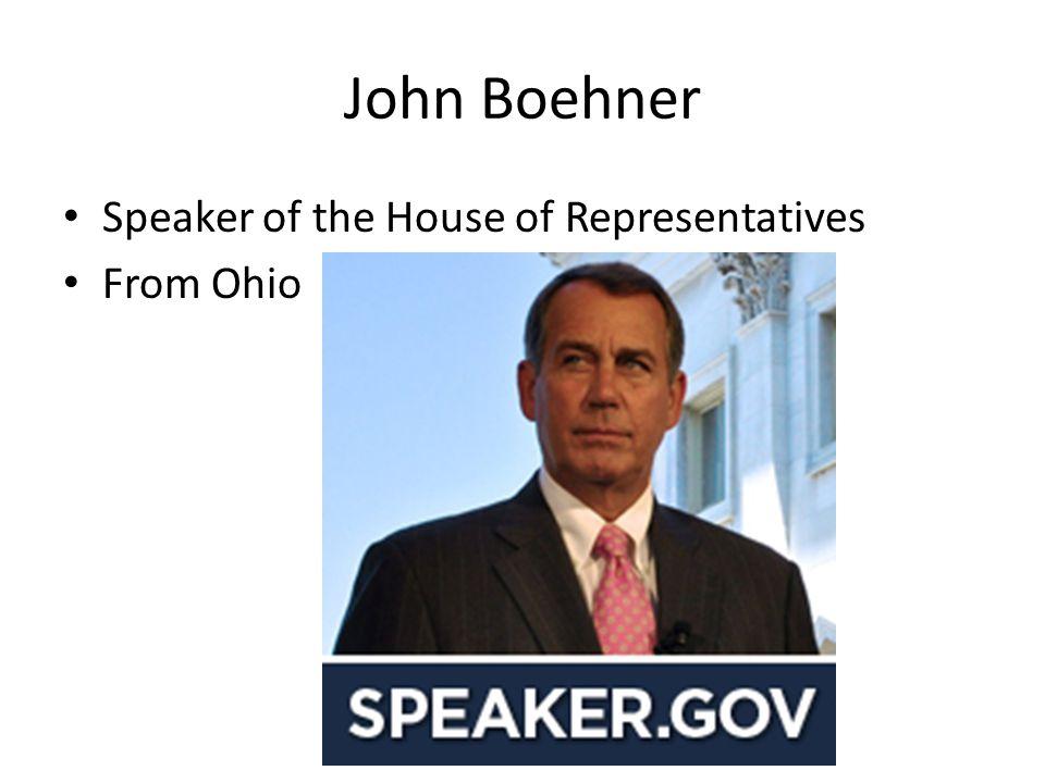 John Boehner Speaker of the House of Representatives From Ohio