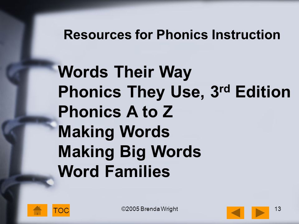 ©2005 Brenda Wright13 TOC Resources for Phonics Instruction Words Their Way Phonics They Use, 3 rd Edition Phonics A to Z Making Words Making Big Word