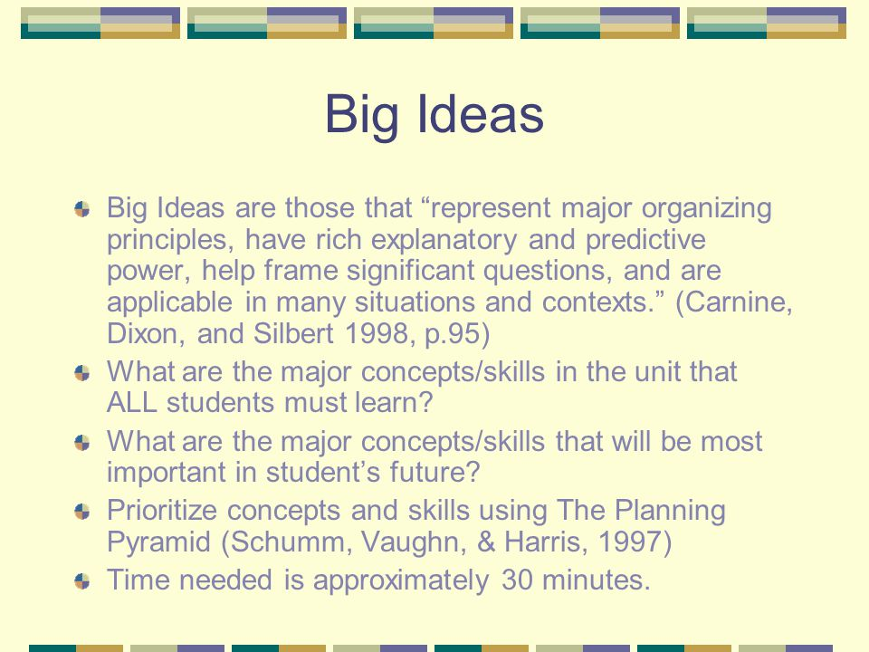 Big Ideas Big Ideas are those that represent major organizing principles, have rich explanatory and predictive power, help frame significant questions, and are applicable in many situations and contexts. (Carnine, Dixon, and Silbert 1998, p.95) What are the major concepts/skills in the unit that ALL students must learn.