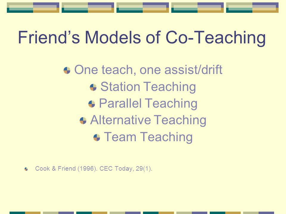 Friend's Models of Co-Teaching One teach, one assist/drift Station Teaching Parallel Teaching Alternative Teaching Team Teaching Cook & Friend (1996).