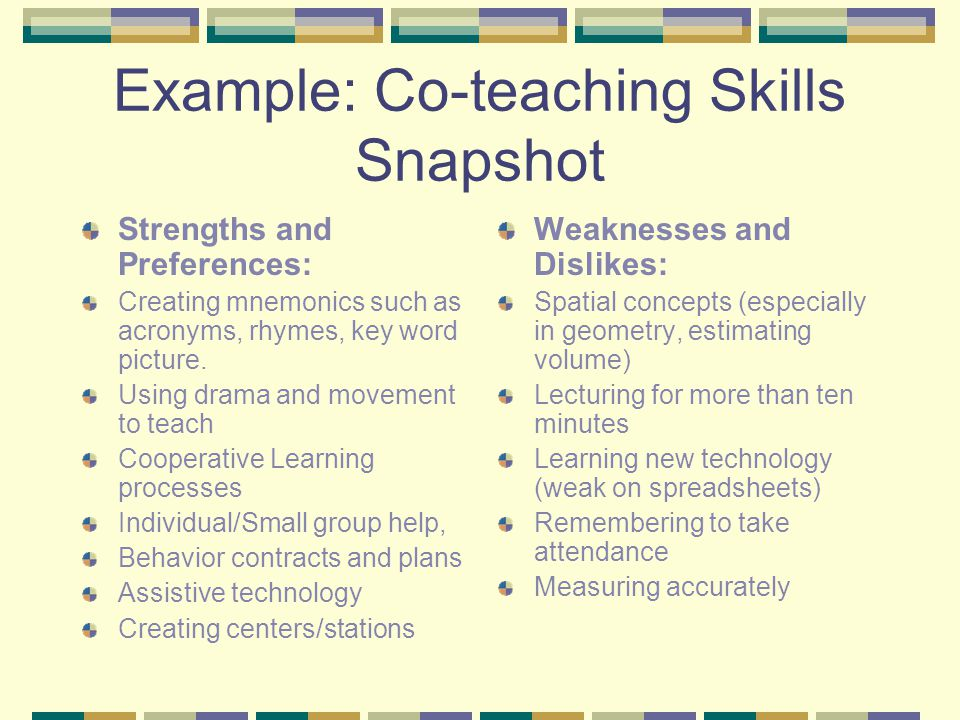 Example: Co-teaching Skills Snapshot Strengths and Preferences: Creating mnemonics such as acronyms, rhymes, key word picture.